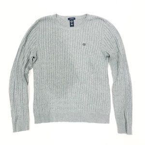 Izod Grey Cable Knit Logo Sweater